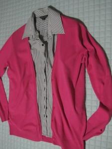 Shirt and pink cardigan
