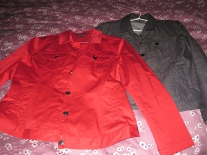 Red and charcoal jackets
