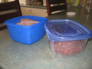 Meat in containers