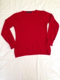 07 Red long sleeve knit top
