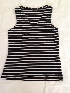 10 Black and white striped sleeveless top