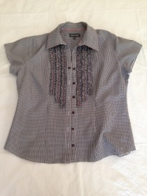 11 Black and white check short sleeve shirt