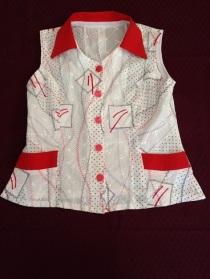14 Red and white sleeveless shirt
