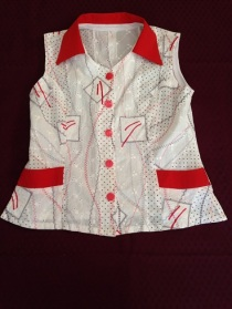 14 Red and white sleeveless shirt